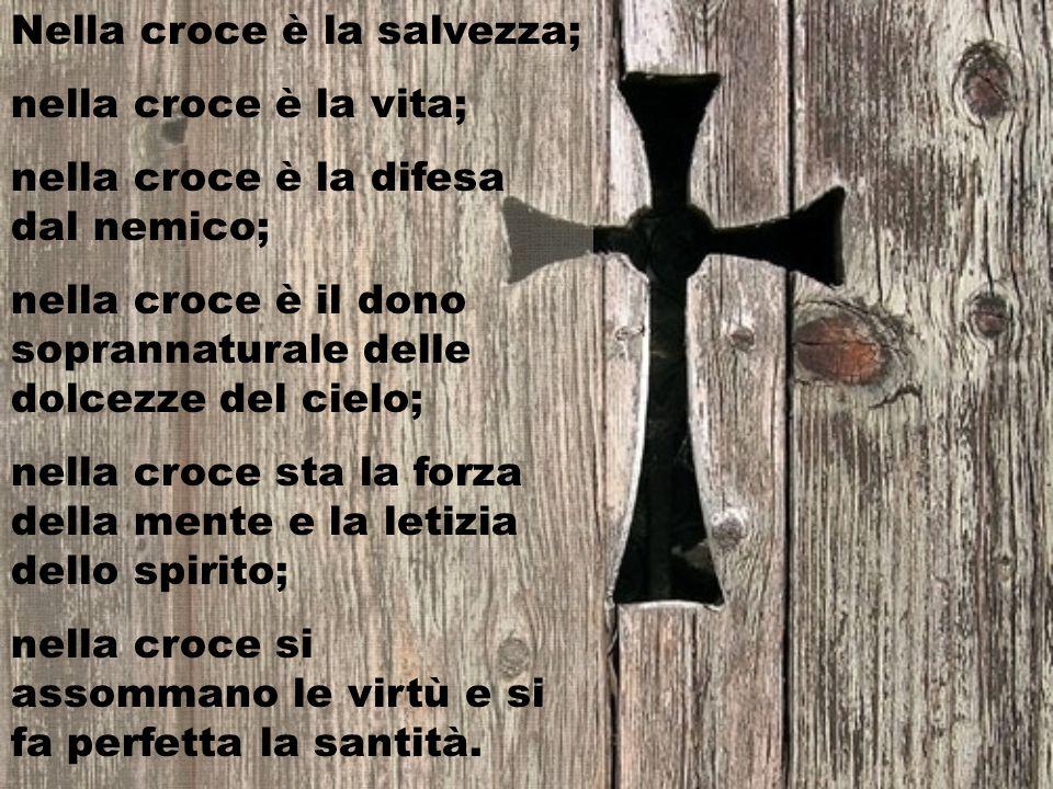 Nella croce è la salvezza; nella croce è la vita; nella croce è la difesa dal nemico; nella croce è il dono soprannaturale delle dolcezze del cielo; nella croce sta la forza della mente e la letizia dello spirito; nella croce si assommano le virtù e si fa perfetta la santità.