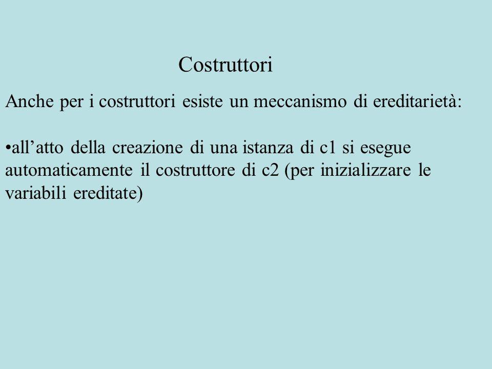 Anche per i costruttori esiste un meccanismo di ereditarietà: all'atto della creazione di una istanza di c1 si esegue automaticamente il costruttore d