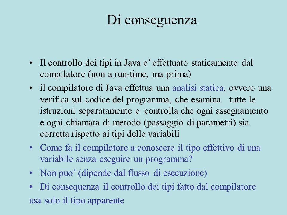 Di conseguenza Il controllo dei tipi in Java e' effettuato staticamente dal compilatore (non a run-time, ma prima) il compilatore di Java effettua una
