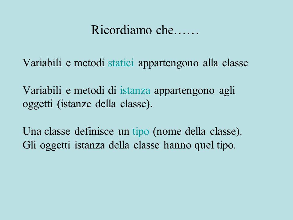 Ricordiamo che…… Variabili e metodi statici appartengono alla classe Variabili e metodi di istanza appartengono agli oggetti (istanze della classe). U