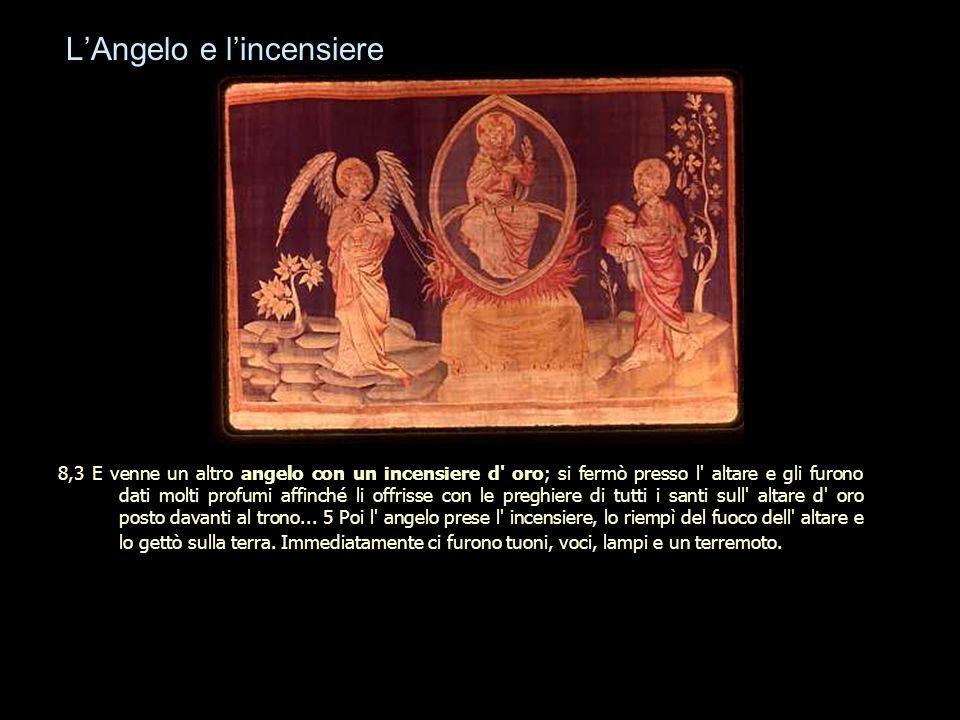 L'Angelo e l'incensiere 8,3 E venne un altro angelo con un incensiere d' oro; si fermò presso l' altare e gli furono dati molti profumi affinché li of