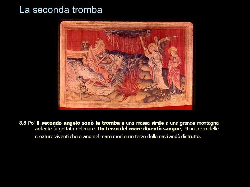 La seconda tromba 8,8 Poi il secondo angelo sonò la tromba e una massa simile a una grande montagna ardente fu gettata nel mare. Un terzo del mare div