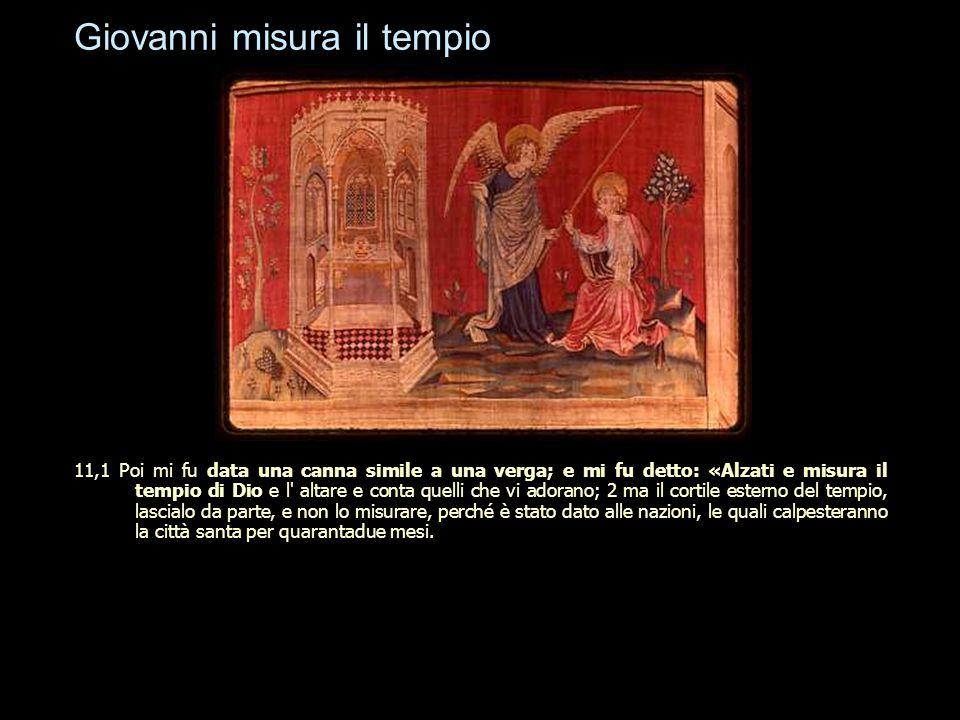 Giovanni misura il tempio 11,1 Poi mi fu data una canna simile a una verga; e mi fu detto: «Alzati e misura il tempio di Dio e l' altare e conta quell