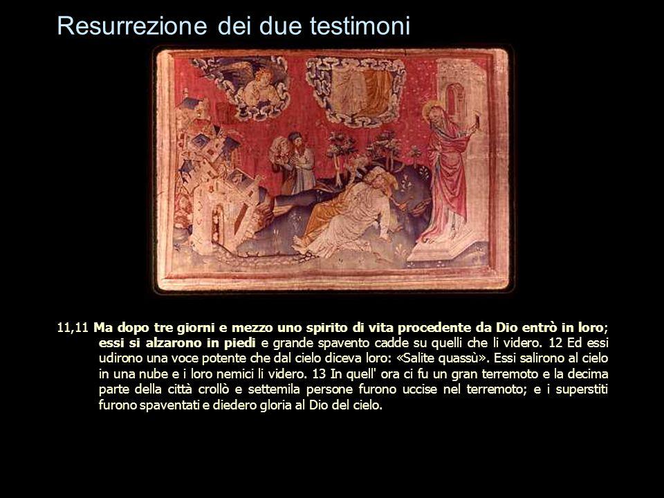 Resurrezione dei due testimoni 11,11 Ma dopo tre giorni e mezzo uno spirito di vita procedente da Dio entrò in loro; essi si alzarono in piedi e grand