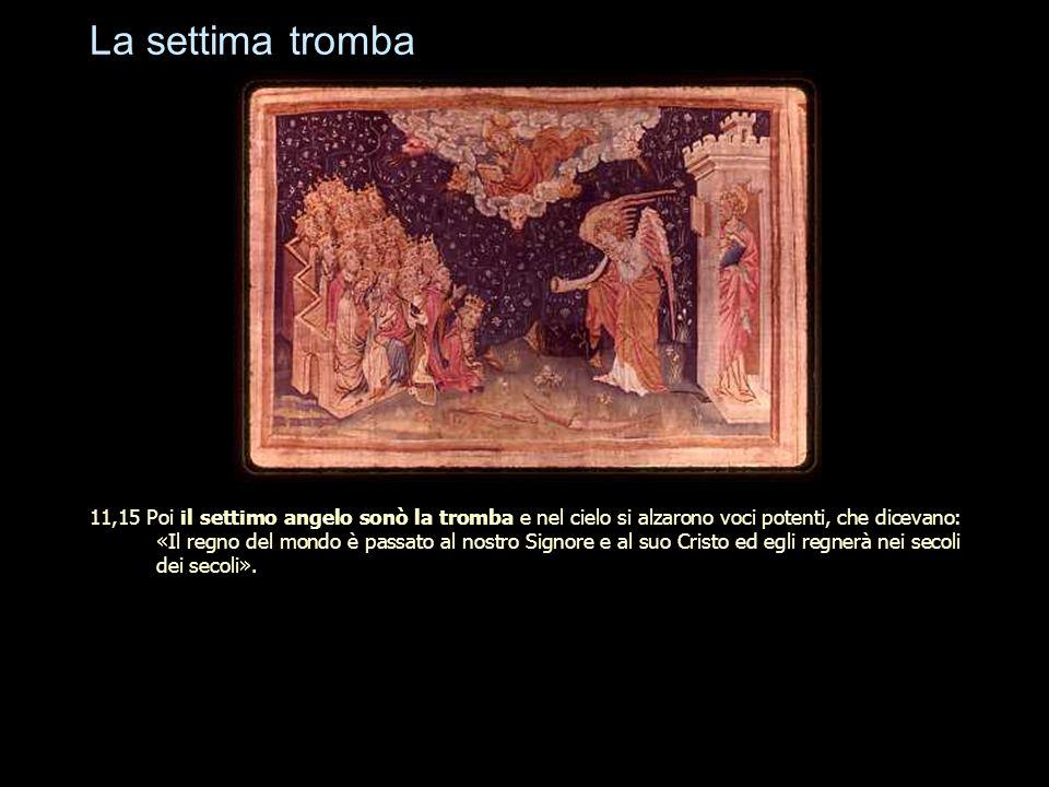 La settima tromba 11,15 Poi il settimo angelo sonò la tromba e nel cielo si alzarono voci potenti, che dicevano: «Il regno del mondo è passato al nost