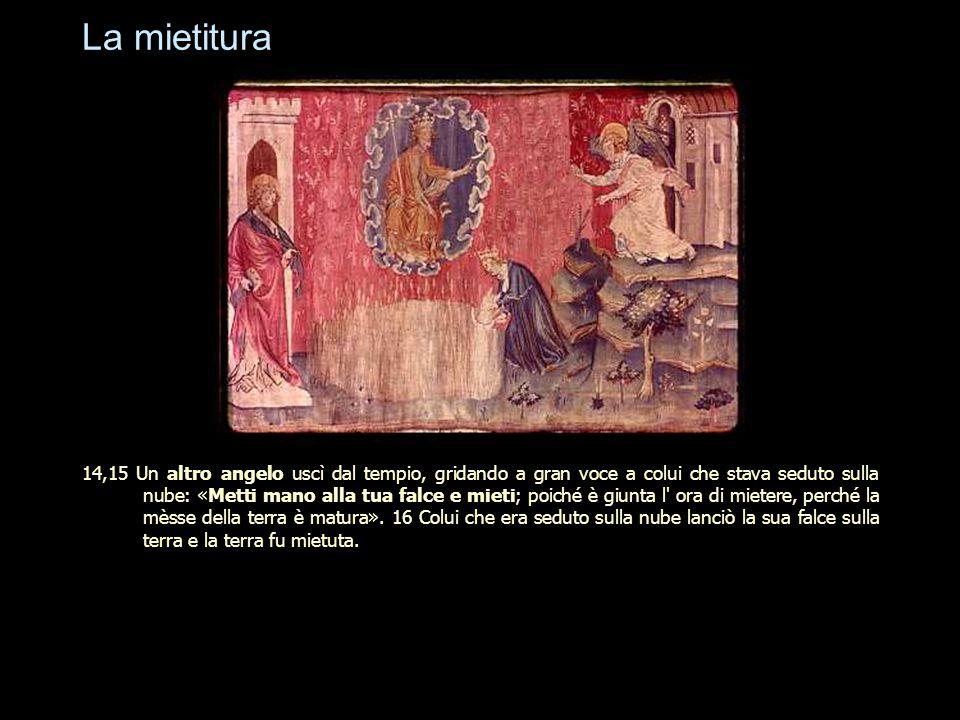 La mietitura 14,15 Un altro angelo uscì dal tempio, gridando a gran voce a colui che stava seduto sulla nube: «Metti mano alla tua falce e mieti; poic