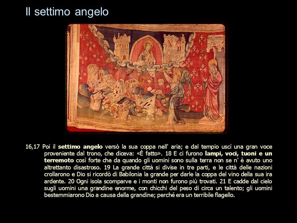 Il settimo angelo 16,17 Poi il settimo angelo versò la sua coppa nell' aria; e dal tempio uscì una gran voce proveniente dal trono, che diceva: «È fat
