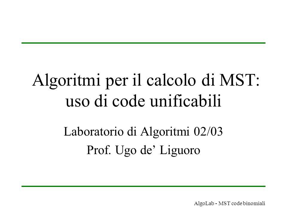 AlgoLab - MST code binomiali Algoritmi per il calcolo di MST: uso di code unificabili Laboratorio di Algoritmi 02/03 Prof.