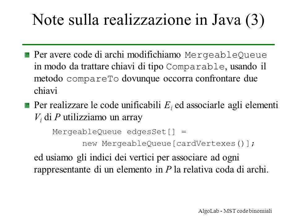 AlgoLab - MST code binomiali Note sulla realizzazione in Java (3) Per avere code di archi modifichiamo MergeableQueue in modo da trattare chiavi di tipo Comparable, usando il metodo compareTo dovunque occorra confrontare due chiavi Per realizzare le code unificabili E i ed associarle agli elementi V i di P utilizziamo un array MergeableQueue edgesSet[] = new MergeableQueue[cardVertexes()]; ed usiamo gli indici dei vertici per associare ad ogni rappresentante di un elemento in P la relativa coda di archi.