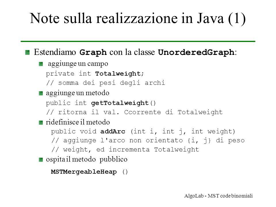 AlgoLab - MST code binomiali Note sulla realizzazione in Java (1) Estendiamo Graph con la classe UnorderedGraph : aggiunge un campo private int Totalweight; // somma dei pesi degli archi aggiunge un metodo public int getTotalweight() // ritorna il val.