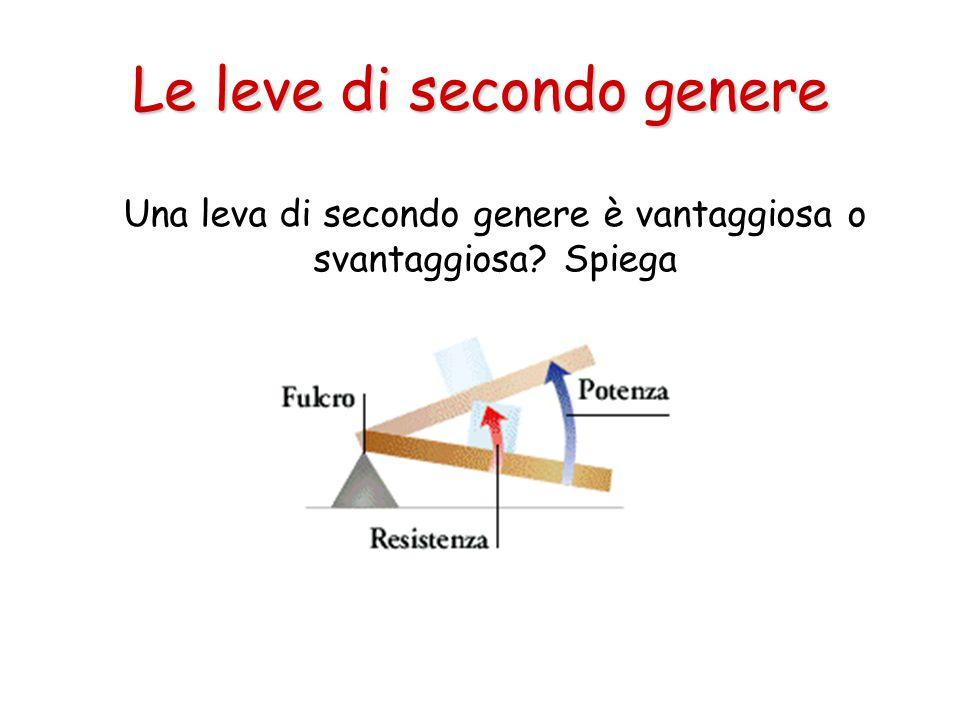 Le leve di secondo genere Una leva di secondo genere è vantaggiosa o svantaggiosa? Spiega