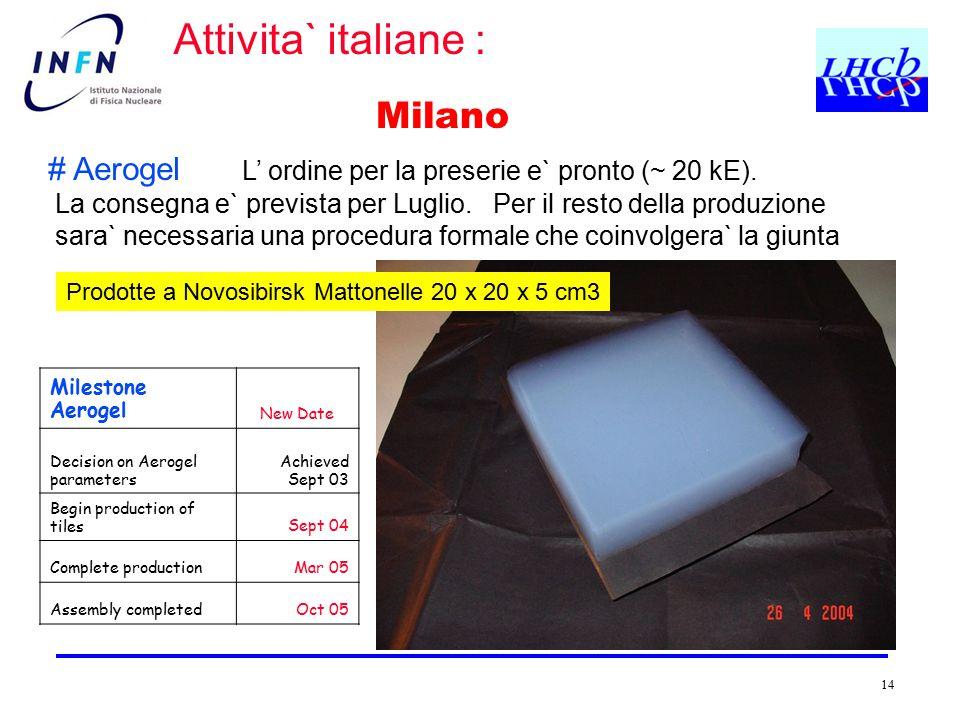 14 Milano # Aerogel L' ordine per la preserie e` pronto (~ 20 kE). La consegna e` prevista per Luglio. Per il resto della produzione sara` necessaria