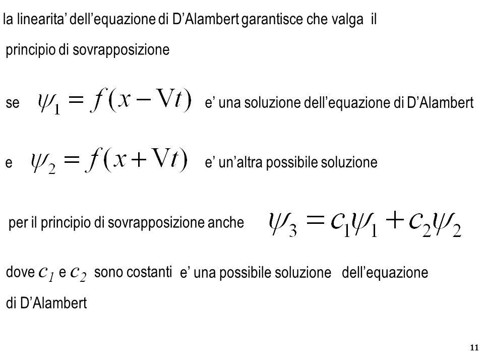 11 la linearita' dell'equazione di D'Alambert garantisce che valga il see' una soluzione e e' un'altra possibile soluzione per il principio di sovrapp