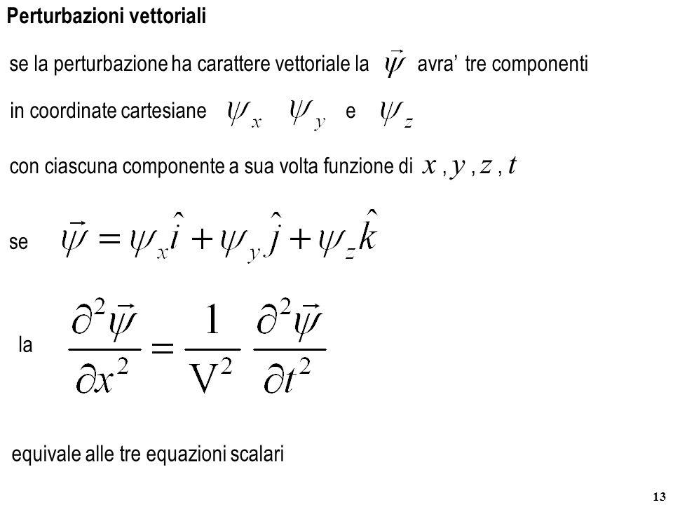 13 avra'se la perturbazione ha carattere vettoriale la equivale alle tre equazioni scalari e la tre componenti se Perturbazioni vettoriali con ciascun