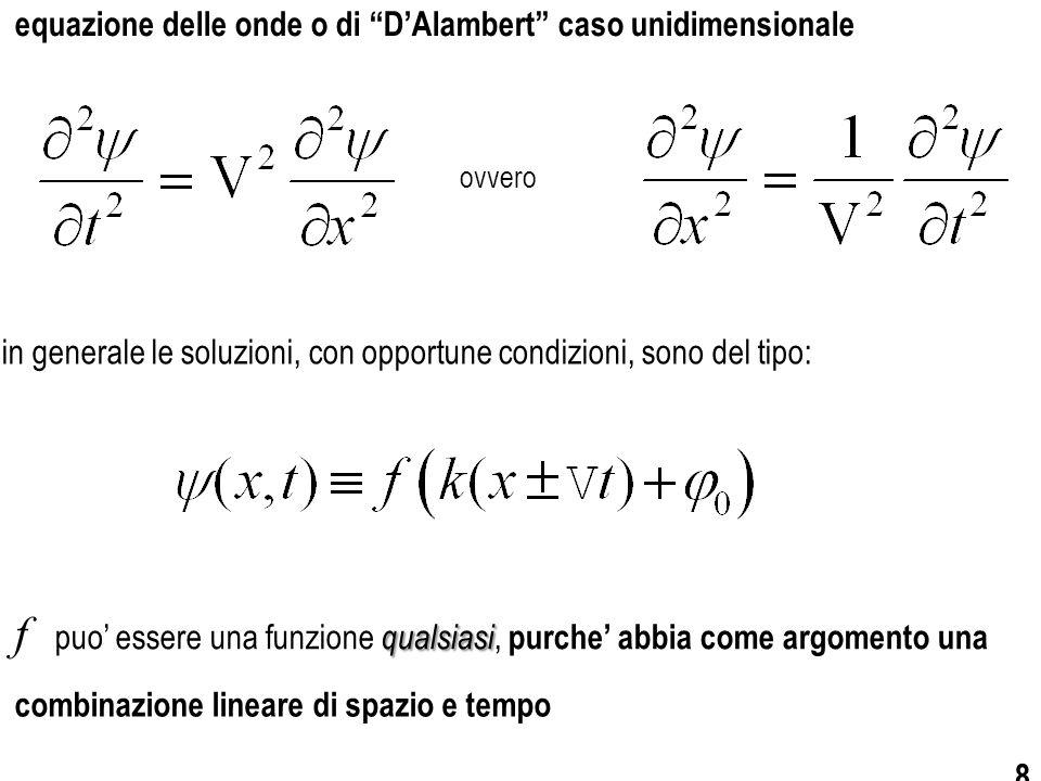 9 dunque si avra' combinazione lineare di spazio e tempoargomento una e cio' significa che se f ha come D'Alambertsoddisfera' sempre all'equazione di
