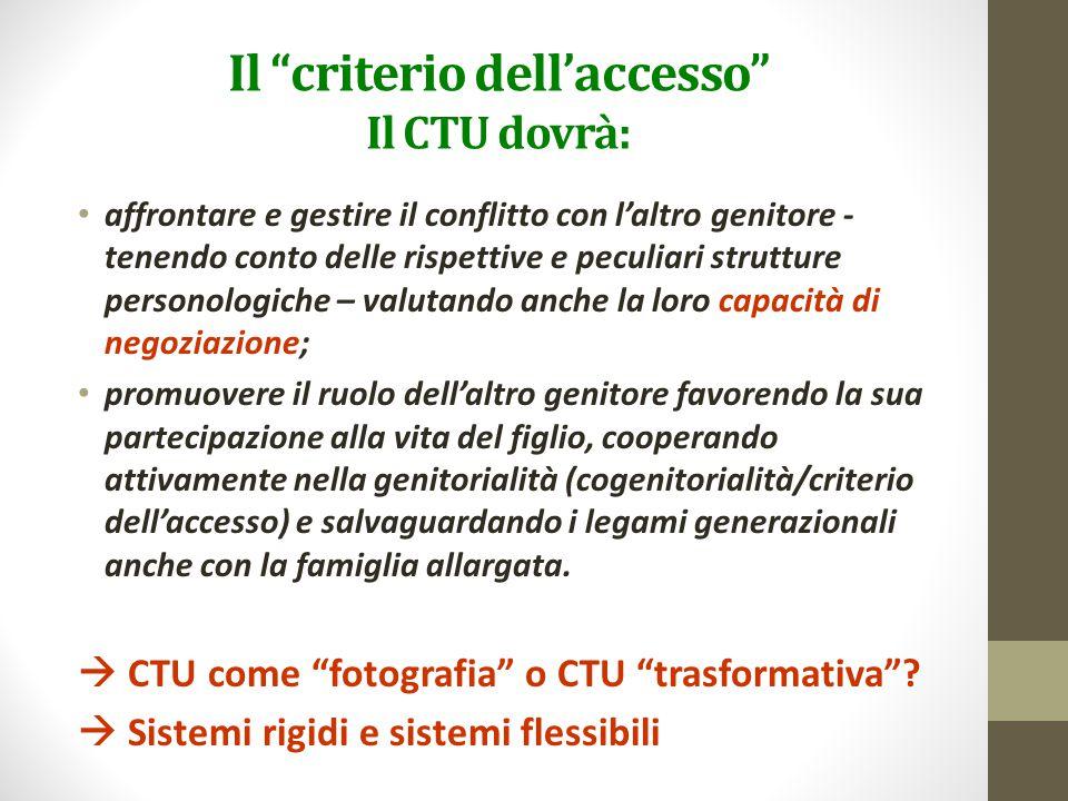 """Il """"criterio dell'accesso"""" Il CTU dovrà: affrontare e gestire il conflitto con l'altro genitore - tenendo conto delle rispettive e peculiari strutture"""