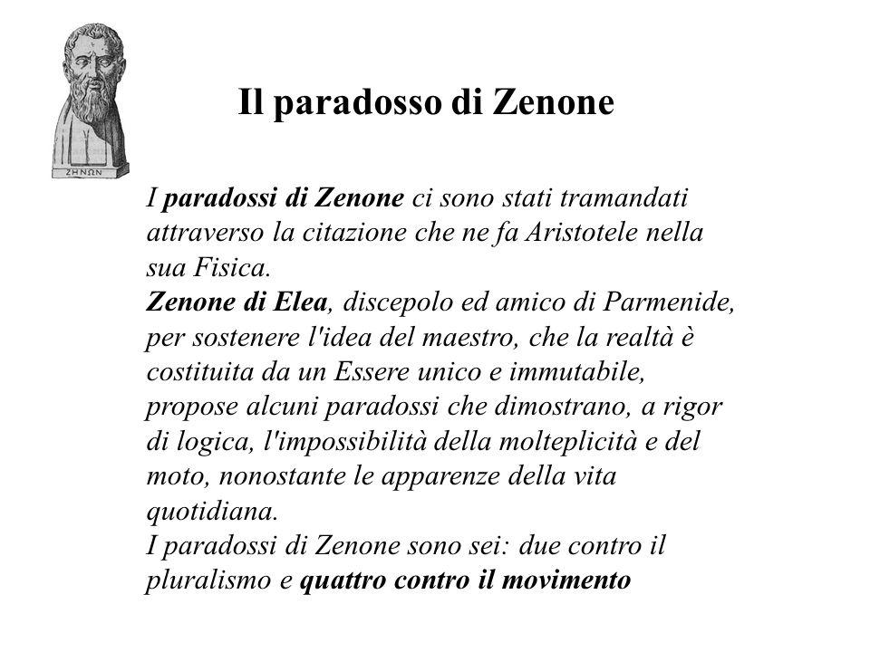 Quarto paradosso contro il movimento In esso Zenone afferma che se due masse in uno stadio si vengono incontro, risulterà l assurdo logico che la metà del tempo equivale al doppio.