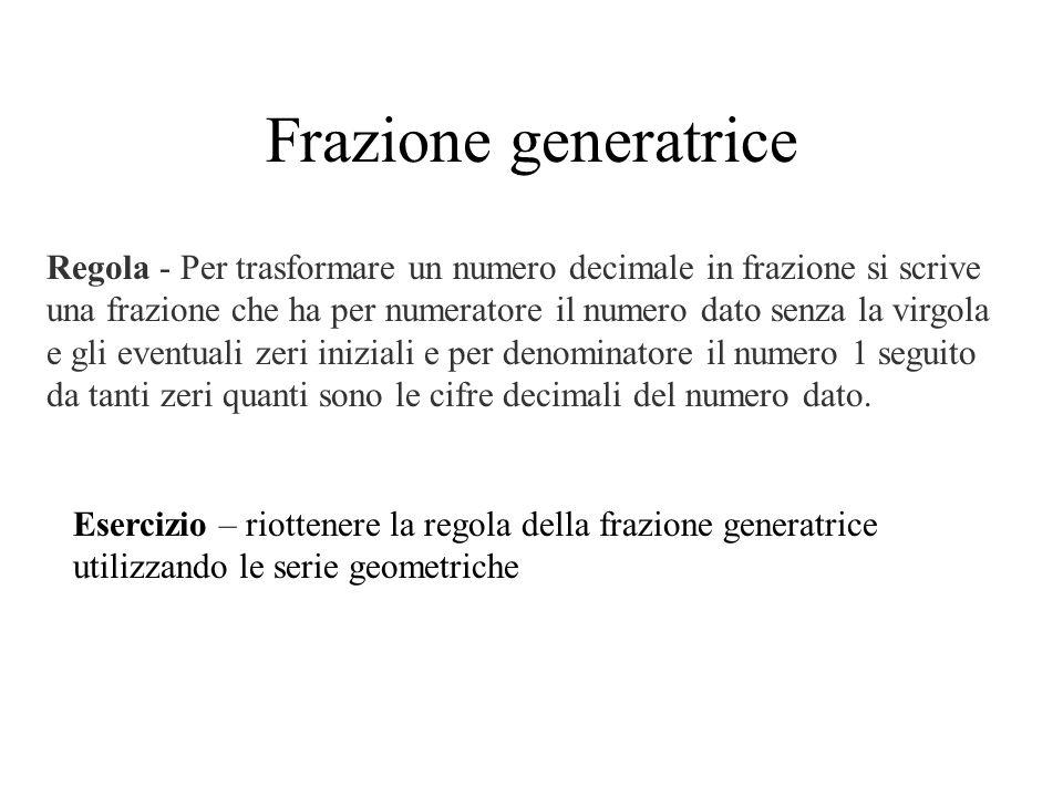 Frazione generatrice Esercizio – riottenere la regola della frazione generatrice utilizzando le serie geometriche Regola - Per trasformare un numero d