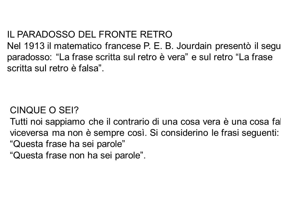 """IL PARADOSSO DEL FRONTE RETRO Nel 1913 il matematico francese P. E. B. Jourdain presentò il seguente paradosso: """"La frase scritta sul retro è vera"""" e"""