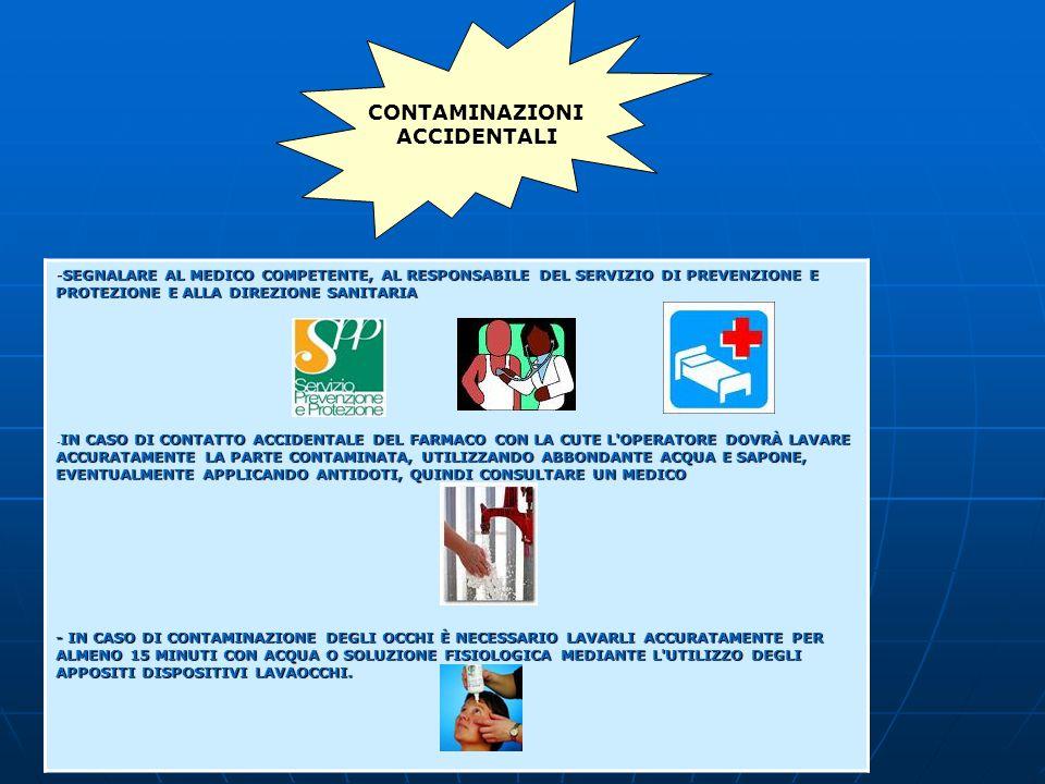 -SEGNALARE AL MEDICO COMPETENTE, AL RESPONSABILE DEL SERVIZIO DI PREVENZIONE E PROTEZIONE E ALLA DIREZIONE SANITARIA - IN CASO DI CONTATTO ACCIDENTALE DEL FARMACO CON LA CUTE L OPERATORE DOVRÀ LAVARE ACCURATAMENTE LA PARTE CONTAMINATA, UTILIZZANDO ABBONDANTE ACQUA E SAPONE, EVENTUALMENTE APPLICANDO ANTIDOTI, QUINDI CONSULTARE UN MEDICO - IN CASO DI CONTAMINAZIONE DEGLI OCCHI È NECESSARIO LAVARLI ACCURATAMENTE PER ALMENO 15 MINUTI CON ACQUA O SOLUZIONE FISIOLOGICA MEDIANTE L UTILIZZO DEGLI APPOSITI DISPOSITIVI LAVAOCCHI.