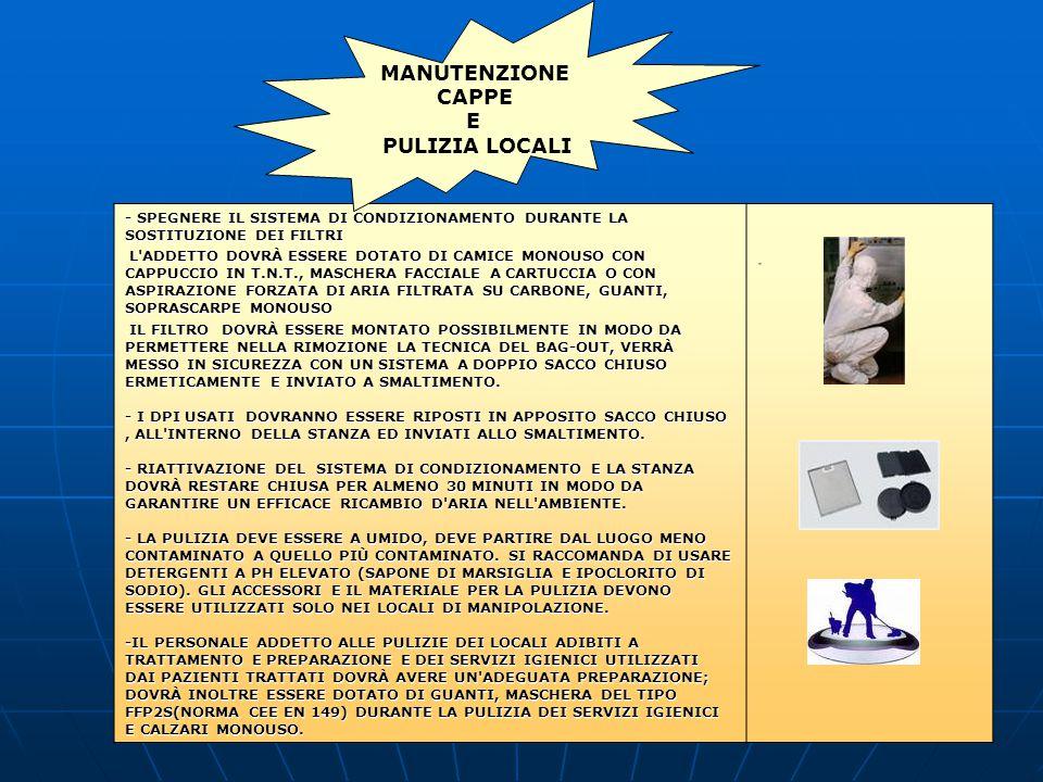 - SPEGNERE IL SISTEMA DI CONDIZIONAMENTO DURANTE LA SOSTITUZIONE DEI FILTRI - L ADDETTO DOVRÀ ESSERE DOTATO DI CAMICE MONOUSO CON CAPPUCCIO IN T.N.T., MASCHERA FACCIALE A CARTUCCIA O CON ASPIRAZIONE FORZATA DI ARIA FILTRATA SU CARBONE, GUANTI, SOPRASCARPE MONOUSO - IL FILTRO DOVRÀ ESSERE MONTATO POSSIBILMENTE IN MODO DA PERMETTERE NELLA RIMOZIONE LA TECNICA DEL BAG-OUT, VERRÀ MESSO IN SICUREZZA CON UN SISTEMA A DOPPIO SACCO CHIUSO ERMETICAMENTE E INVIATO A SMALTIMENTO.