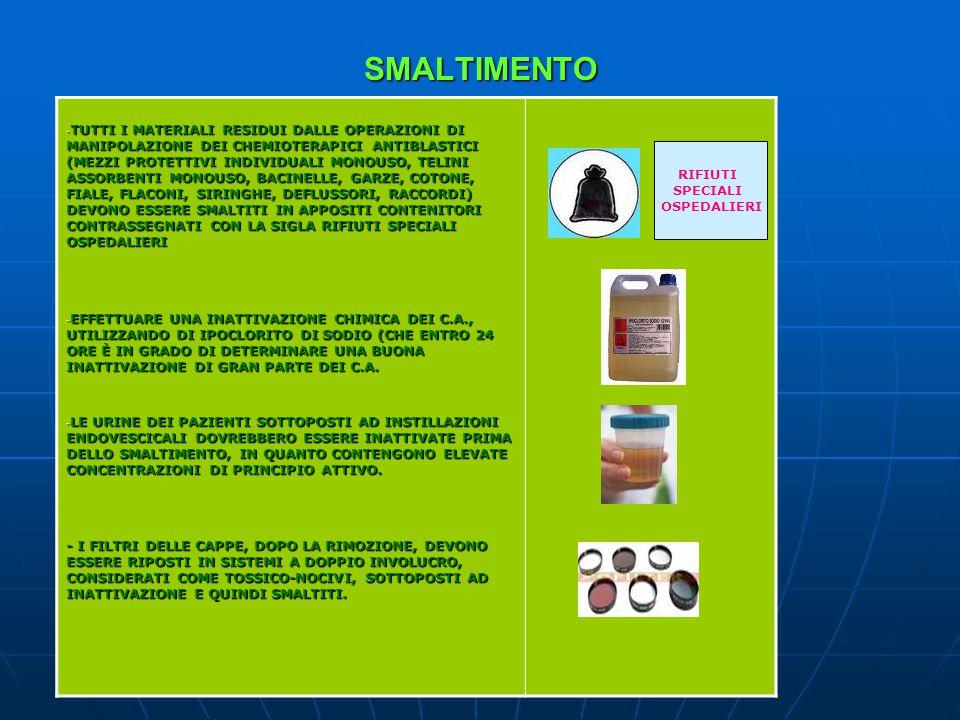 SMALTIMENTO - TUTTI I MATERIALI RESIDUI DALLE OPERAZIONI DI MANIPOLAZIONE DEI CHEMIOTERAPICI ANTIBLASTICI (MEZZI PROTETTIVI INDIVIDUALI MONOUSO, TELINI ASSORBENTI MONOUSO, BACINELLE, GARZE, COTONE, FIALE, FLACONI, SIRINGHE, DEFLUSSORI, RACCORDI) DEVONO ESSERE SMALTITI IN APPOSITI CONTENITORI CONTRASSEGNATI CON LA SIGLA RIFIUTI SPECIALI OSPEDALIERI - EFFETTUARE UNA INATTIVAZIONE CHIMICA DEI C.A., UTILIZZANDO DI IPOCLORITO DI SODIO (CHE ENTRO 24 ORE È IN GRADO DI DETERMINARE UNA BUONA INATTIVAZIONE DI GRAN PARTE DEI C.A.