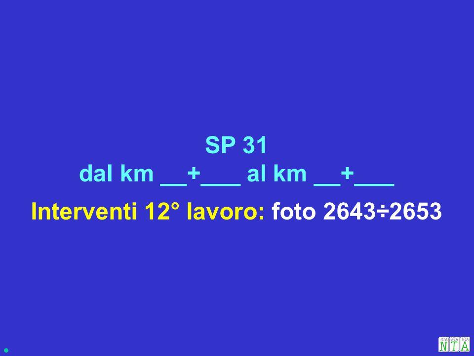 Interventi 12° lavoro: foto 2643÷2653 SP 31 dal km __+___ al km __+___