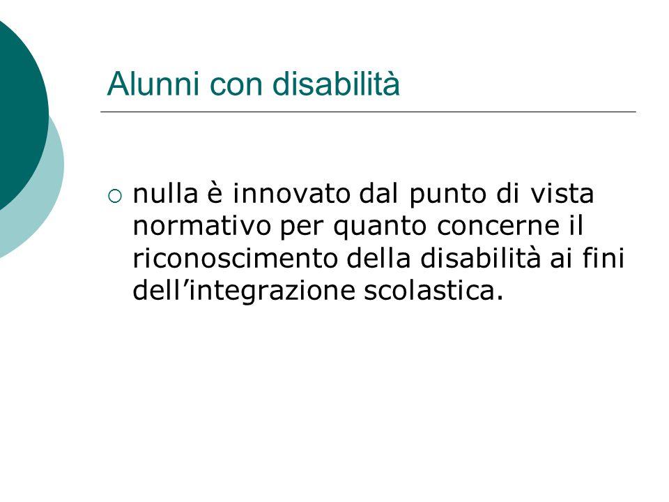 Alunni con disabilità  nulla è innovato dal punto di vista normativo per quanto concerne il riconoscimento della disabilità ai fini dell'integrazione