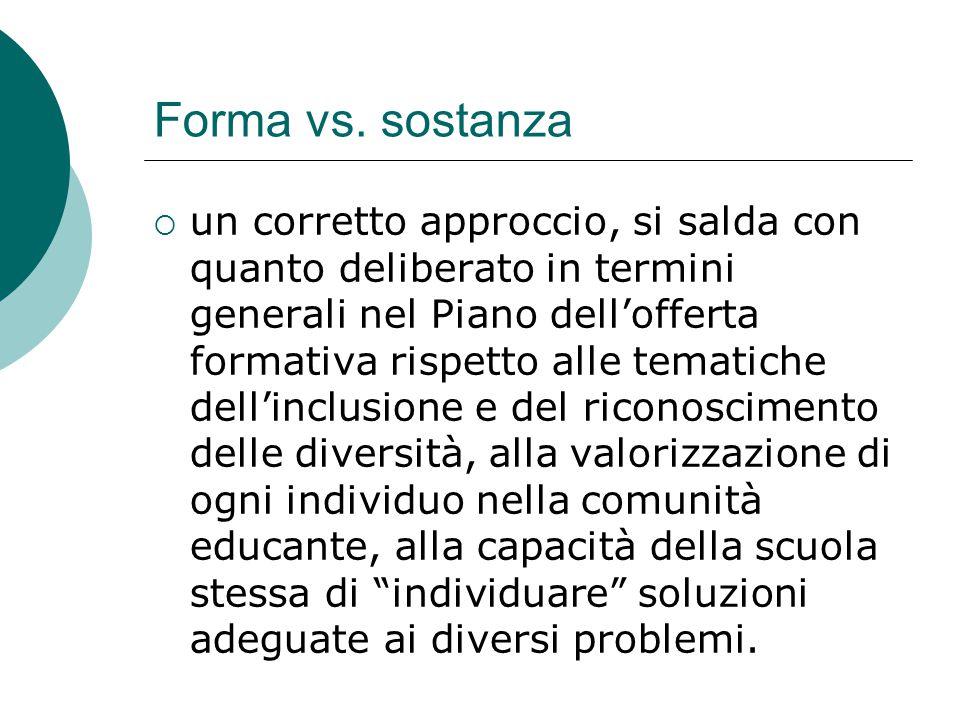 Forma vs. sostanza  un corretto approccio, si salda con quanto deliberato in termini generali nel Piano dell'offerta formativa rispetto alle tematich