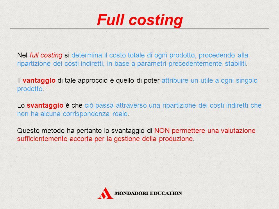 Full costing Nel full costing si determina il costo totale di ogni prodotto, procedendo alla ripartizione dei costi indiretti, in base a parametri pre
