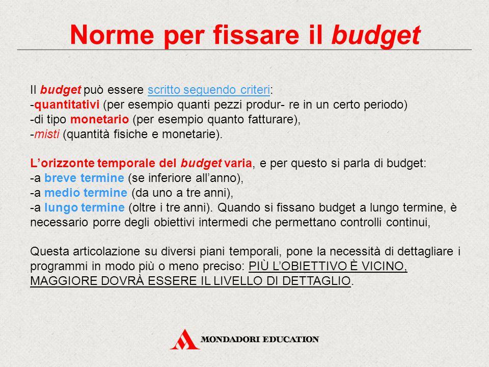 Norme per fissare il budget Il budget può essere scritto seguendo criteri: -quantitativi (per esempio quanti pezzi produr- re in un certo periodo) -di