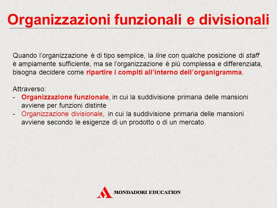 Organizzazioni funzionali e divisionali Quando l'organizzazione è di tipo semplice, la line con qualche posizione di staff è ampiamente sufficiente, m