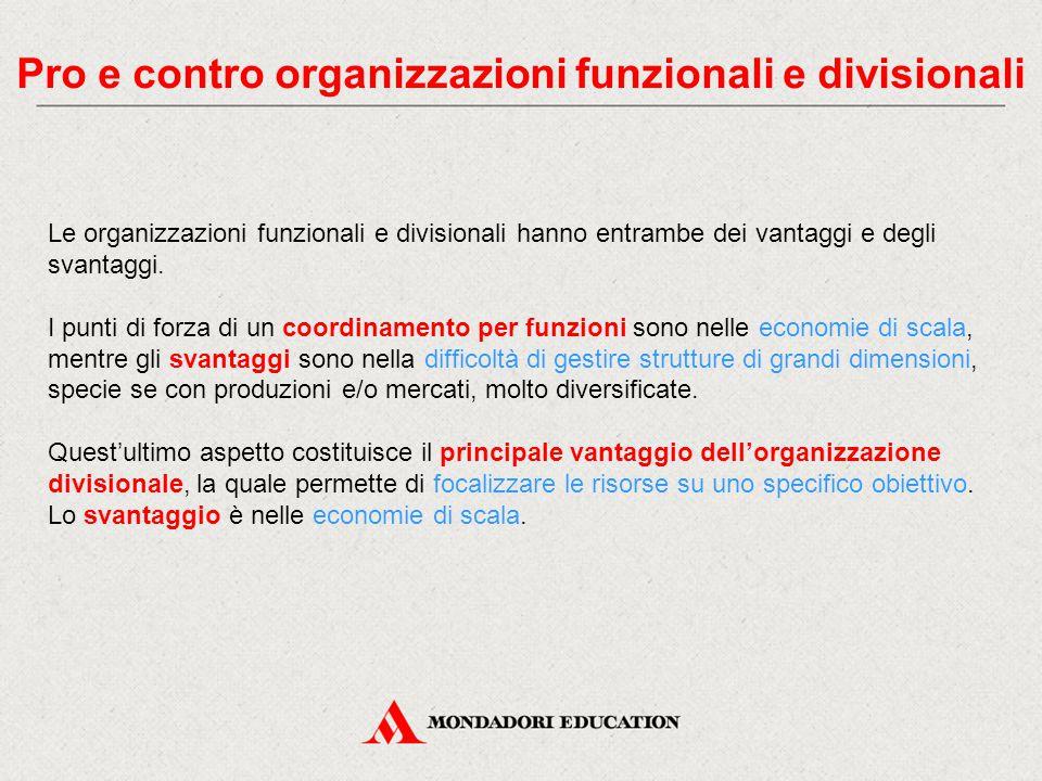 Pro e contro organizzazioni funzionali e divisionali Le organizzazioni funzionali e divisionali hanno entrambe dei vantaggi e degli svantaggi. I punti