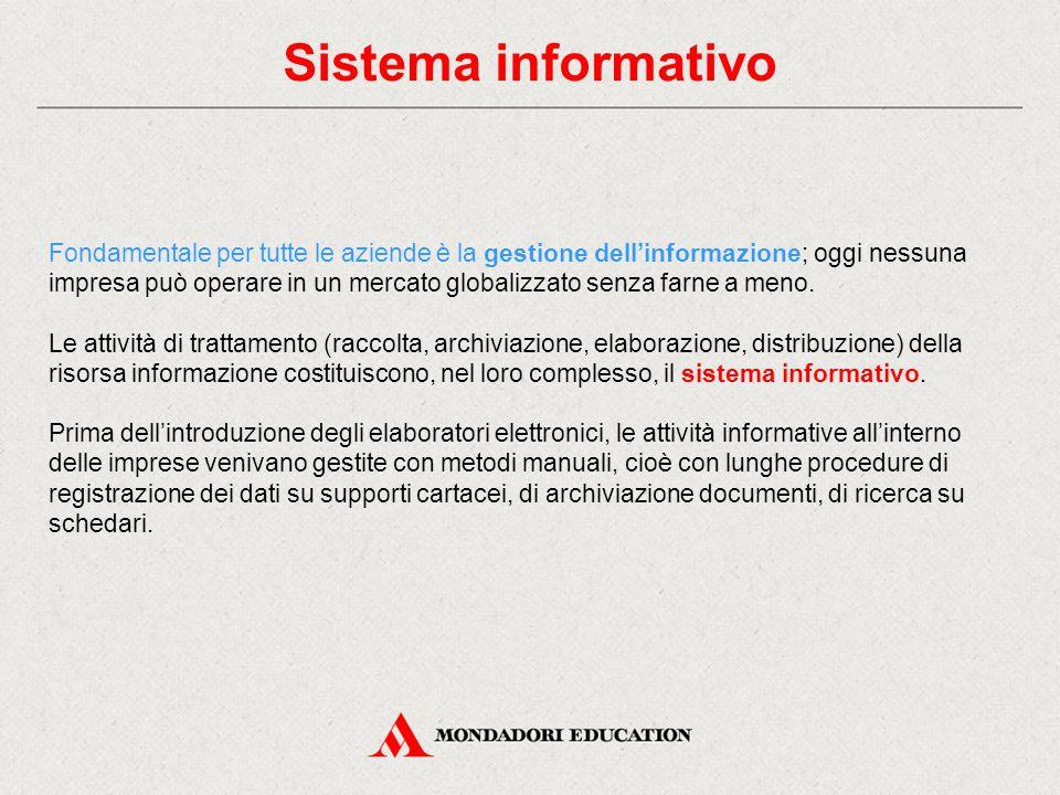 Sistema informativo Fondamentale per tutte le aziende è la gestione dell'informazione; oggi nessuna impresa può operare in un mercato globalizzato sen