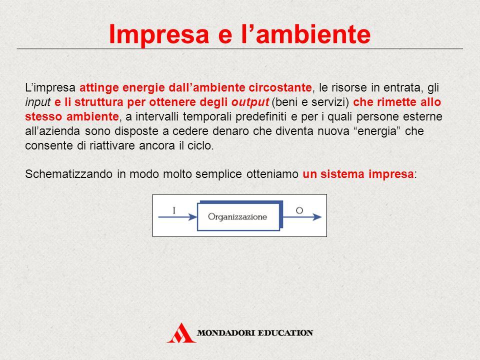 Impresa e l'ambiente L'impresa attinge energie dall'ambiente circostante, le risorse in entrata, gli input e li struttura per ottenere degli output (b