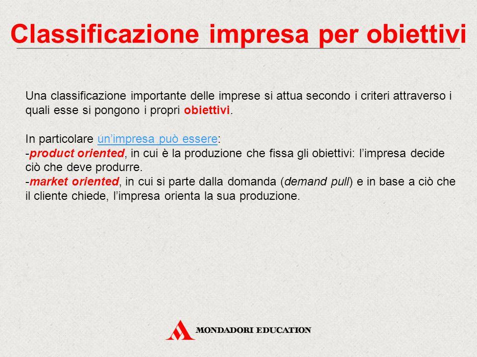 Classificazione impresa per obiettivi Una classificazione importante delle imprese si attua secondo i criteri attraverso i quali esse si pongono i pro