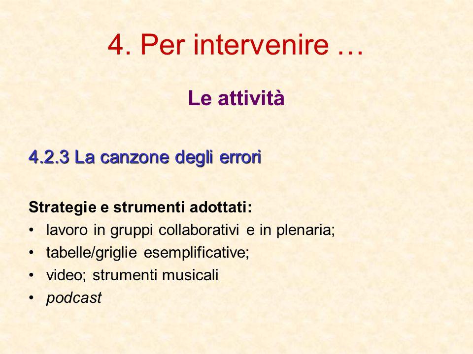 4. Per intervenire … Le attività 4.2.3 La canzone degli errori Strategie e strumenti adottati: lavoro in gruppi collaborativi e in plenaria; tabelle/g