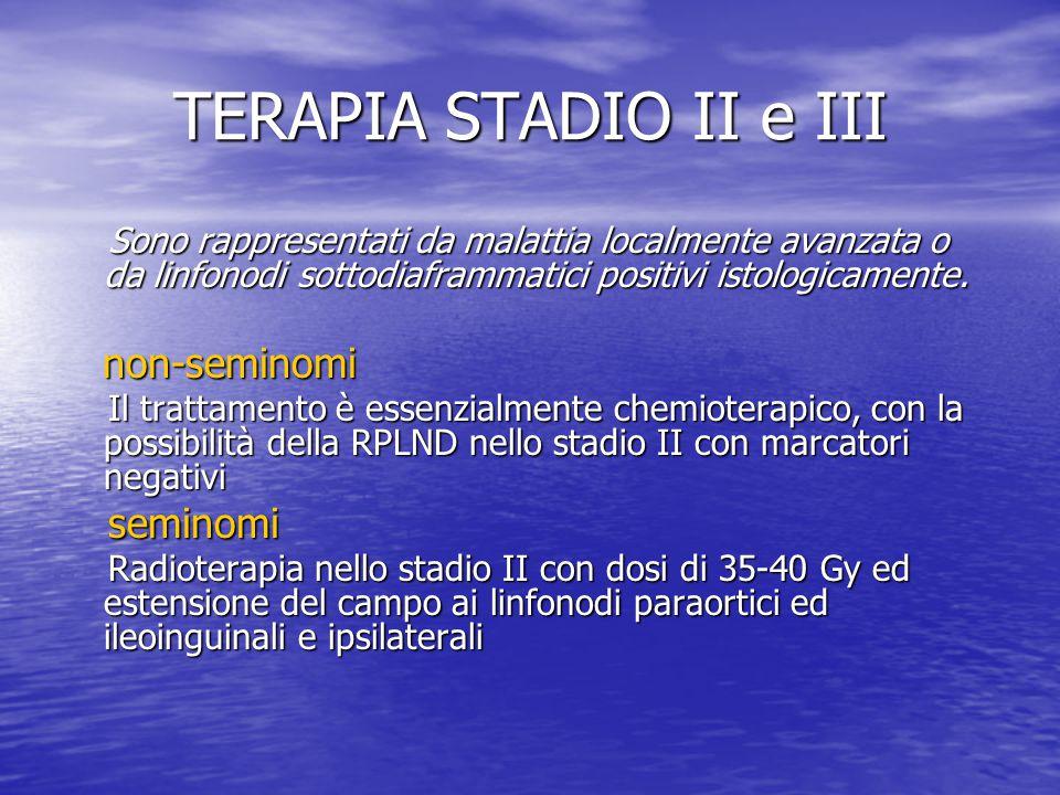 TERAPIA STADIO II e III Sono rappresentati da malattia localmente avanzata o da linfonodi sottodiaframmatici positivi istologicamente. Sono rappresent