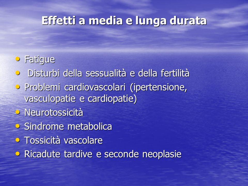 Effetti a media e lunga durata Fatigue Fatigue Disturbi della sessualità e della fertilità Disturbi della sessualità e della fertilità Problemi cardio