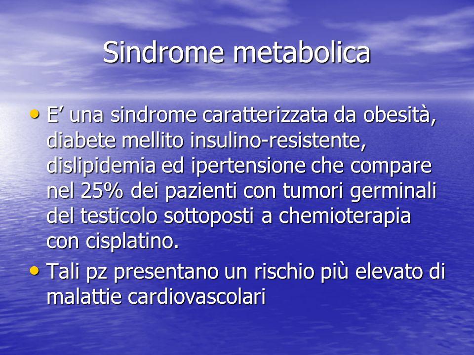 Sindrome metabolica E' una sindrome caratterizzata da obesità, diabete mellito insulino-resistente, dislipidemia ed ipertensione che compare nel 25% d