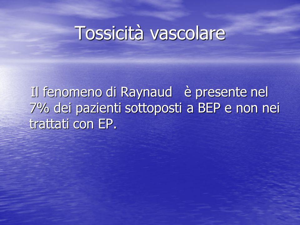 Tossicità vascolare Il fenomeno di Raynaud è presente nel 7% dei pazienti sottoposti a BEP e non nei trattati con EP. Il fenomeno di Raynaud è present