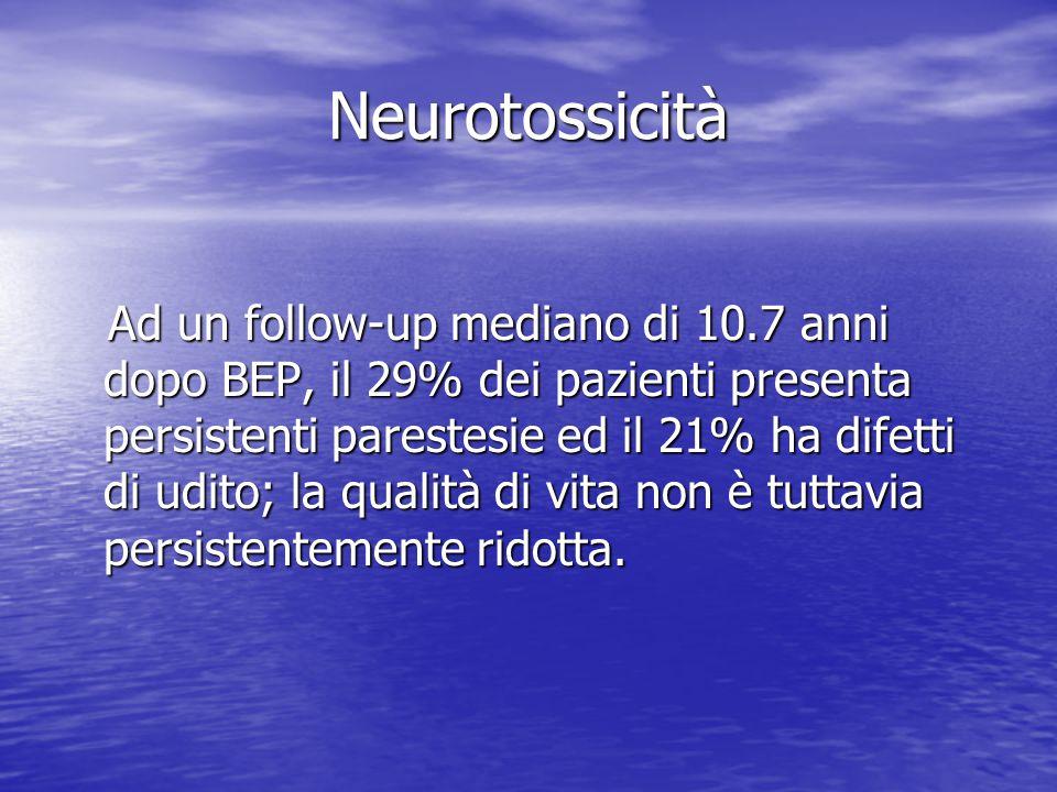 Neurotossicità Ad un follow-up mediano di 10.7 anni dopo BEP, il 29% dei pazienti presenta persistenti parestesie ed il 21% ha difetti di udito; la qu