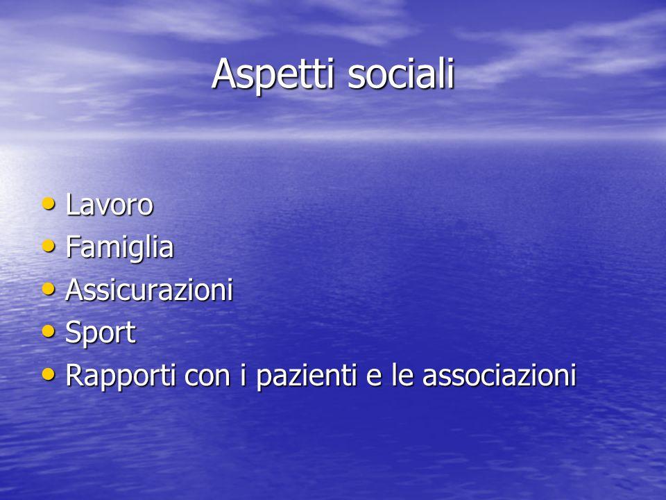 Aspetti sociali Lavoro Lavoro Famiglia Famiglia Assicurazioni Assicurazioni Sport Sport Rapporti con i pazienti e le associazioni Rapporti con i pazie