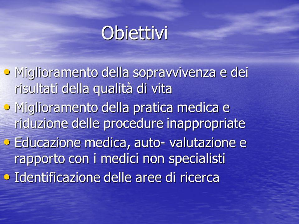 Obiettivi Miglioramento della sopravvivenza e dei risultati della qualità di vita Miglioramento della sopravvivenza e dei risultati della qualità di v
