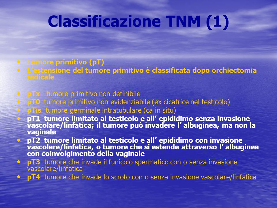Classificazione TNM (1) Tumore primitivo (pT) L'estensione del tumore primitivo è classificata dopo orchiectomia radicale pTx tumore primitivo non def