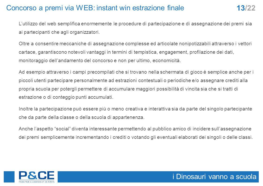 Concorso a premi via WEB: instant win estrazione finale i Dinosauri vanno a scuola 13/22 L'utilizzo del web semplifica enormemente le procedure di par