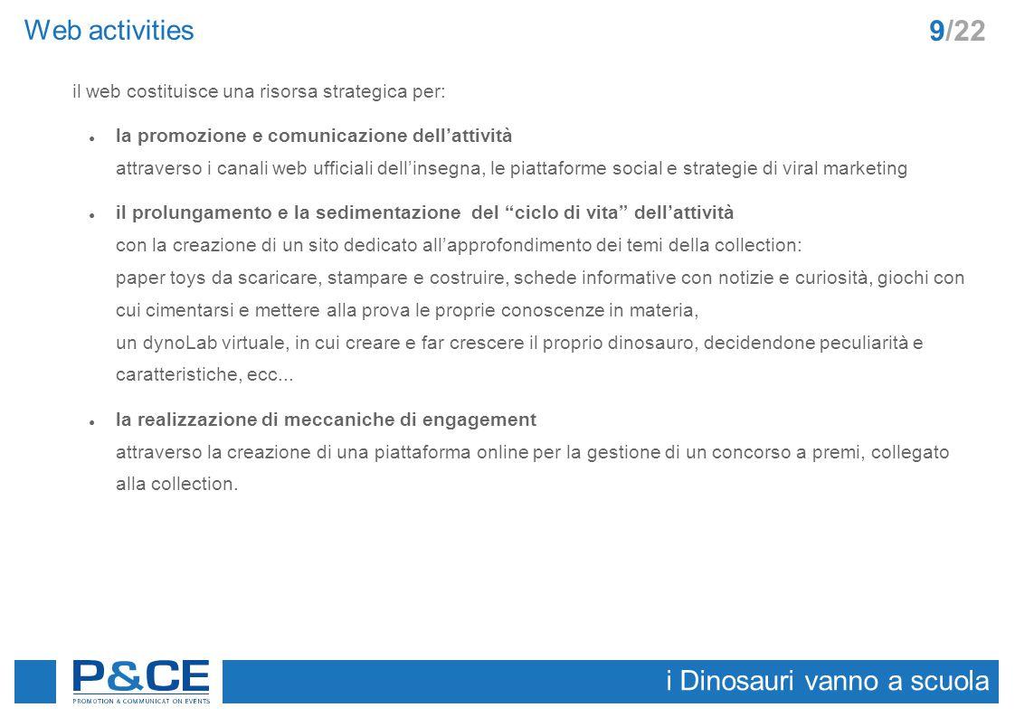Web activities i Dinosauri vanno a scuola 9/22 il web costituisce una risorsa strategica per: ● la promozione e comunicazione dell'attività attraverso