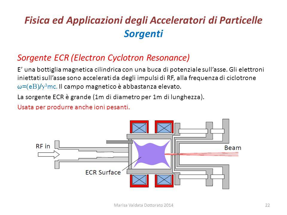 Fisica ed Applicazioni degli Acceleratori di Particelle Sorgenti Sorgente ECR (Electron Cyclotron Resonance) E' una bottiglia magnetica cilindrica con