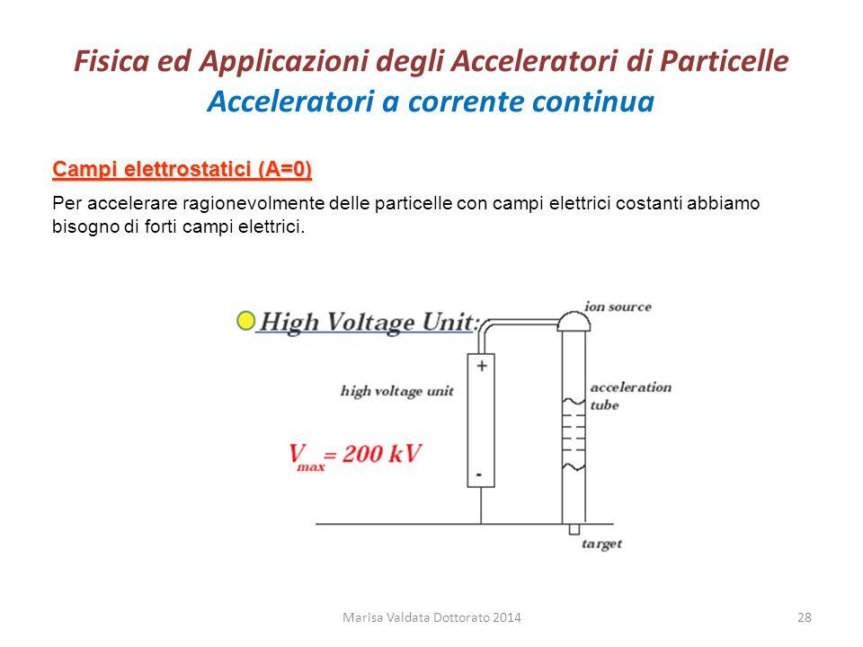 Fisica ed Applicazioni degli Acceleratori di Particelle Acceleratori a corrente continua Campi elettrostatici (A=0) Per accelerare ragionevolmente del