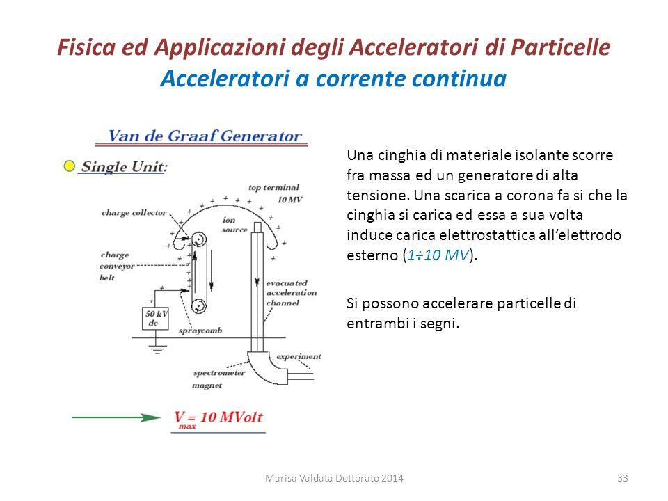 Fisica ed Applicazioni degli Acceleratori di Particelle Acceleratori a corrente continua Una cinghia di materiale isolante scorre fra massa ed un gene